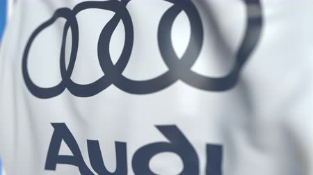 car logo : Waving flag with Audi logo, close-up. Editorial loopable 3D animation Stock Footage