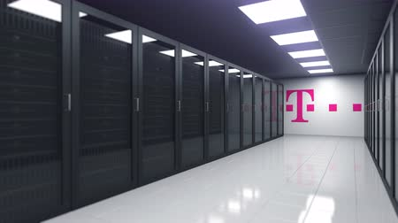 nagy : Logo of DEUTSCHE TELEKOM AG on the wall of a server room, editorial 3D animation