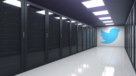 server room : TWITTER logo in the server room, editorial 3D animation Stock Footage