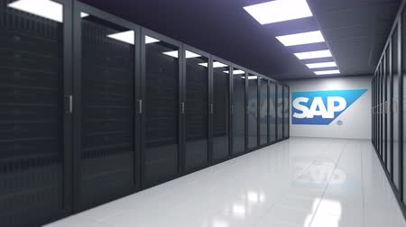 oficial : SAP logo in the server room, editorial 3D animation