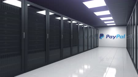 server room : Logo of PAYPAL on the wall of a server room, editorial 3D animation