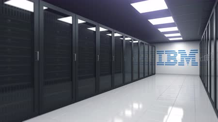 oficial : Logo of IBM on the wall of a server room, editorial 3D animation Stock Footage