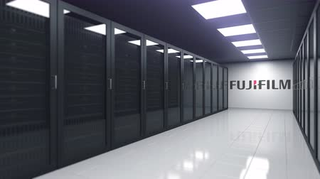 server room : Logo of FUJIFILM on the wall of a server room, editorial 3D animation