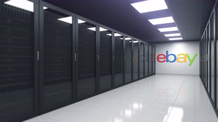 ebay : EBAY logo in the server room, editorial 3D animation
