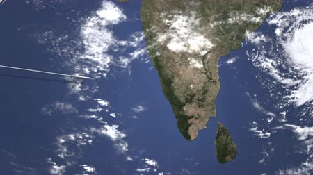 bangalore : Airplane flying to Bangalore, India on the map. Intro 3D animation