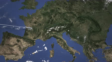orta hava : Airplane flying to Ljubljana, Slovenia on the map. Intro 3D animation Stok Video