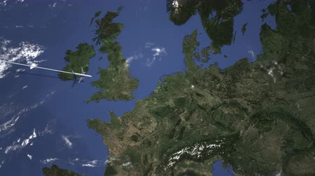 hanover : Commercial plane arrives to Hanover, Germany, intro 3D animation