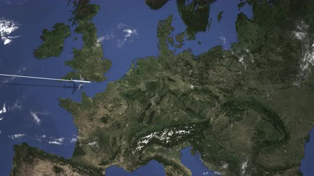 varmak : Route of a commercial plane flying to Dresden, Germany on the map. Intro 3D animation Stok Video