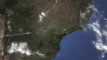 chegar : Route of a commercial plane flying to Campinas, Brazil on the map. Intro 3D animation