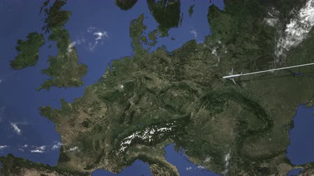 köln : Commercial airplane flying to Cologne, Germany. Intro 3D animation