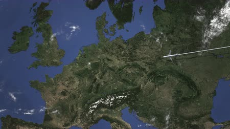 dusseldorf : Airplane flying to Dusseldorf, Germany on the map. Intro 3D animation