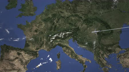 megérkezik : Airplane flying to Lausanne, Switzerland from east. Intro 3D animation