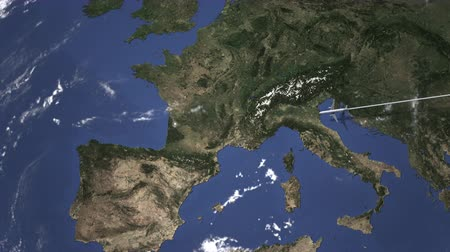 Бордо : Route of a commercial plane flying to Bordeaux, France on the map. Intro 3D animation
