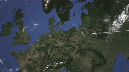harita : Airplane flying to Bremen, Germany from east. Intro 3D animation