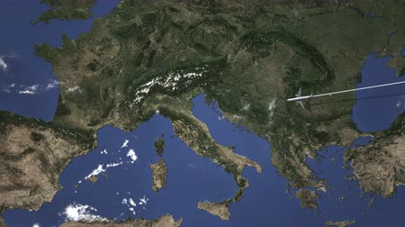 chegar : Airplane flying to Genoa, Italy on the map. Intro 3D animation