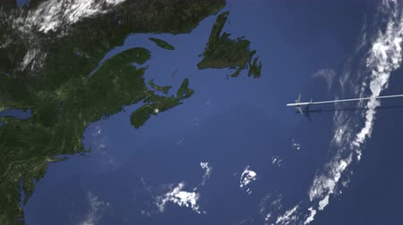 bilet : Commercial plane arrives to Halifax, Canada, intro 3D animation