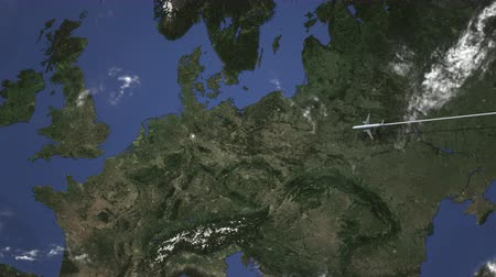 hanover : Airliner flying to Hanover, Germany from east. 3D animation