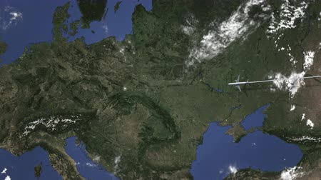 poland : Commercial plane arrives to Krakow, Poland, intro 3D animation