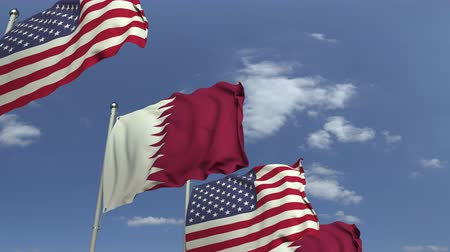 şaft : Row of waving flags of Qatar and the USA, loopable 3D animation Stok Video