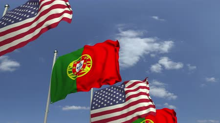 海外で : Many flags of Portugal and the USA, loopable 3D animation