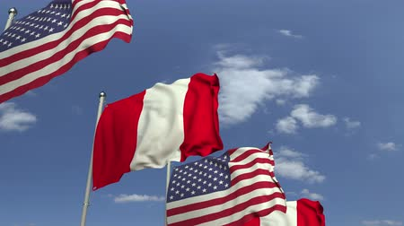 foreign national : Many flags of Peru and the USA, loopable 3D animation Stock Footage