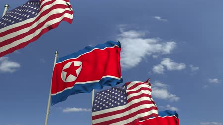 dprk : Waving flags of North Korea and the USA, loopable 3D animation