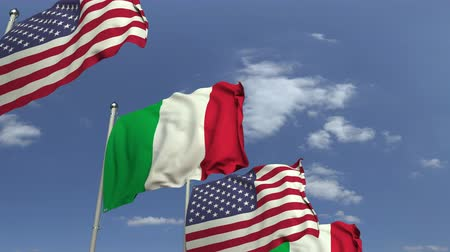 mastro de bandeira : Flags of Italy and the USA at international meeting, loopable 3D animation