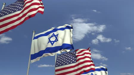 şaft : Flags of Israel and the USA at international meeting, loopable 3D animation Stok Video