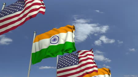 indie : Row of waving flags of India and the USA, loopable 3D animation