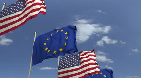 foreign national : Waving flags of the EU and the USA on sky background, loopable 3D animation