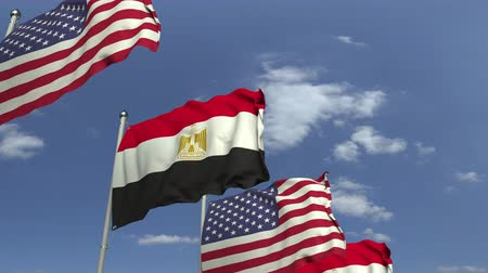 mastro de bandeira : Flags of Egypt and the USA against blue sky, loopable 3D animation