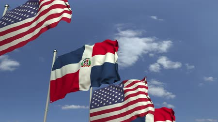 dominikana : Flags of the Dominican Republic and the USA at international meeting, loopable 3D animation
