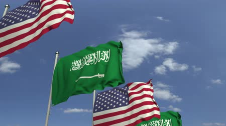 şaft : Waving flags of Saudi Arabia and the USA, loopable 3D animation
