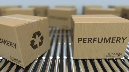 perfumy : Carton boxes with PERFUMERY text move on roller conveyor. Realistic loopable 3D animation