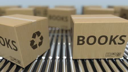 product of : Carton boxes with BOOKS text move on roller conveyor. Realistic loopable 3D animation Stock Footage