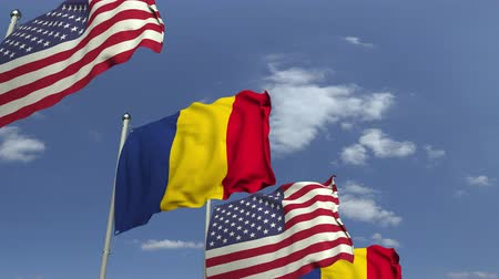 mastro de bandeira : Flags of Romania and the USA at international meeting, loopable 3D animation