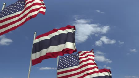 깃대 : Flags of Thailand and the USA against blue sky, loopable 3D animation