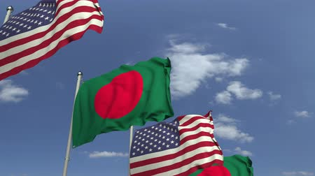 mastro de bandeira : Flags of Bangladesh and the USA at international meeting, loopable 3D animation