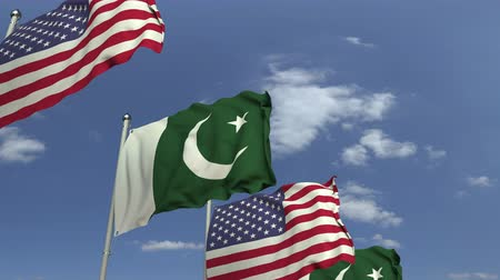 meeting negotiate : Waving flags of Pakistan and the USA, loopable 3D animation