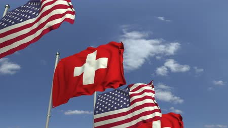 mastro de bandeira : Many flags of Switzerland and the USA, loopable 3D animation