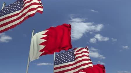 külföldi : Waving flags of Bahrain and the USA on sky background, loopable 3D animation