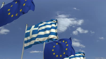 şaft : Many flags of Greece and the European Union EU, loopable 3D animation Stok Video