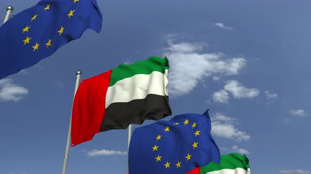 mastro de bandeira : Flags of UAE and the European Union at international meeting, loopable 3D animation