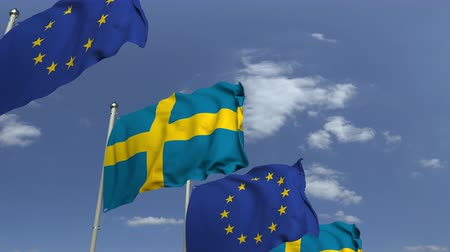İsveççe : Many flags of Sweden and the European Union EU, loopable 3D animation Stok Video