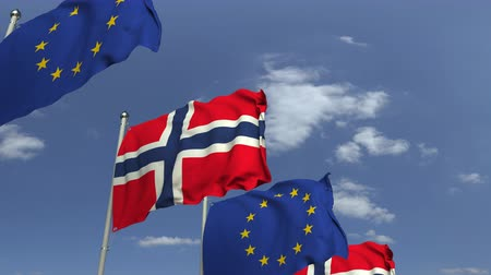 membro : Flags of Norway and the European Union at international meeting, loopable 3D animation Vídeos