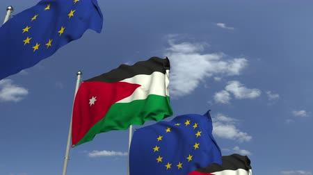 jordanie : Waving flags of Jordan and the EU on sky background, loopable 3D animation