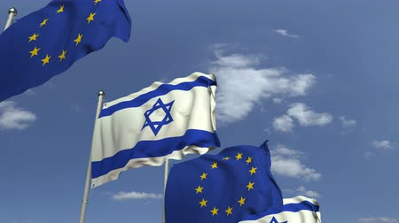 вал : Flags of Israel and the European Union at international meeting, loopable 3D animation Стоковые видеозаписи