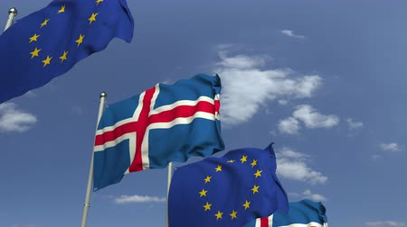 şaft : Waving flags of Iceland and the European Union EU, loopable 3D animation