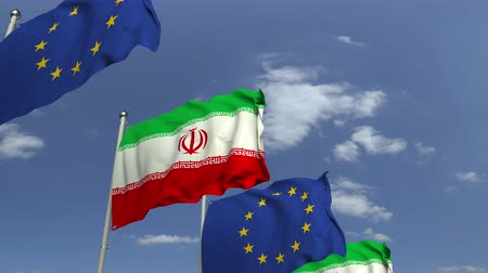 meeting negotiate : Waving flags of Iran and the EU on sky background, loopable 3D animation