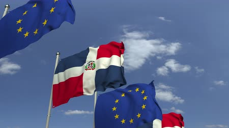 mastro de bandeira : Flags of the Dominican Republic and the European Union at international meeting, loopable 3D animation